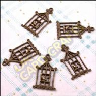 Birdcages 2 Metal Charms & Spacers - HHCS02